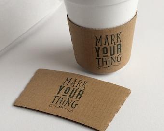 Custom Coffee Sleeve Logo Stamp, Custom Logo Rubber Stamp, Barista Stamp, Wedding Stamp, Hot Cup Stamp