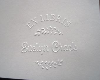 Ex Libris Embosser, Custom Library Embosser, Personalized Embosser, Evelyn
