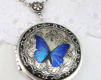 Silver Butterfly Locket.Silver Locket Gift For Her, Holiday Gift For Her Mothers Day Gift