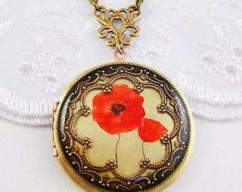 Vintage Red Poppy Brass Locket, Memorial Locket, Photo Locket, Holiday Gift For Her, Wedding Locket Picture Locket