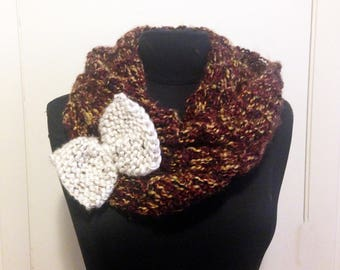 Knit bow scarf - burgundy/maroon with cream bow - cozy and perfect for cold winter weather