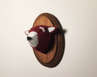 Red Panda faux taxidermy on wooden mount