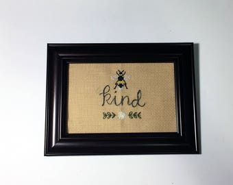 Bee Kind - cross stitch with flowers and bee