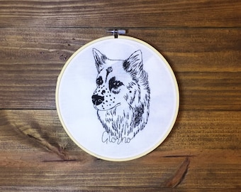 fd58d06afc21 Custom pet portrait lineart || Hoop embroidery with pet name