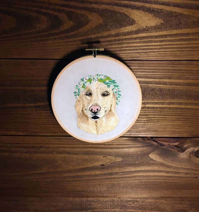 34a887255c2d Custom dog embroidery Hoop embroidery with pet name | Etsy