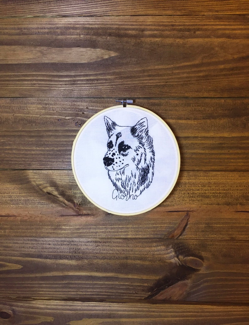 ebf1817de162 Custom pet portrait lineart Hoop embroidery with pet name | Etsy