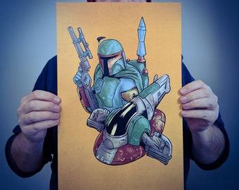 Boba Fett Slave 1 Poster Art // Star Wars Empire Strikes Back Print // Original Illustration & Wall Decoration Design