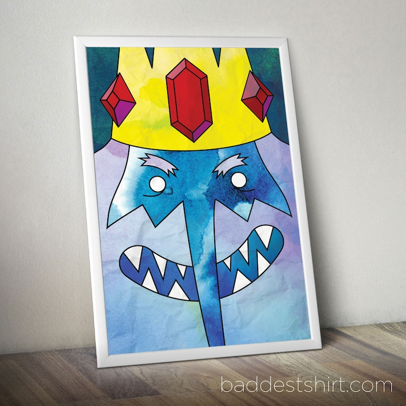ICE KING Adventure Time Poster Design // Cartoon Network Print Art //  Original Illustration & Wall Decor Design