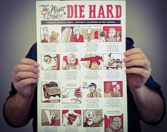 The Night Before Die Hard Poster Design // 11x17 Comic Art Film Print