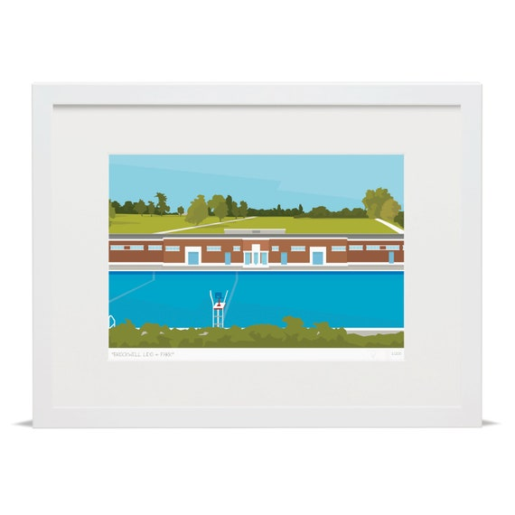 Brockwell Lido Park Limited Edition Giclee Art Print Etsy
