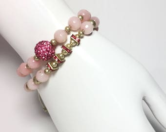 High quality pink quartz beads and silver/crystal beaded shamballa bracelet set