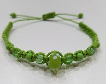 Green Macrame Bracelet with Green Beads