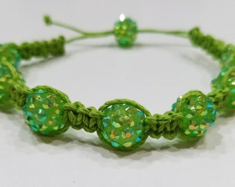 Green Macrame Bracelet with Green Sparkly Beads