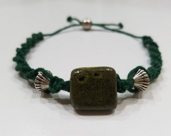 Green Macrame Bracelet with Green and Silver Beads