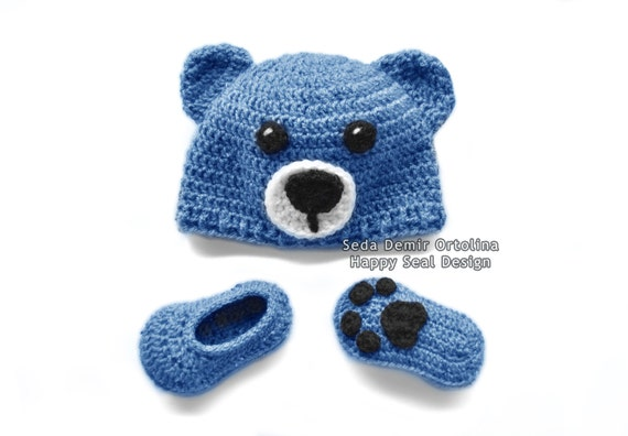 PATTERN ONLY - Crochet Newborn Bear Hat and Booties Set - Baby ...