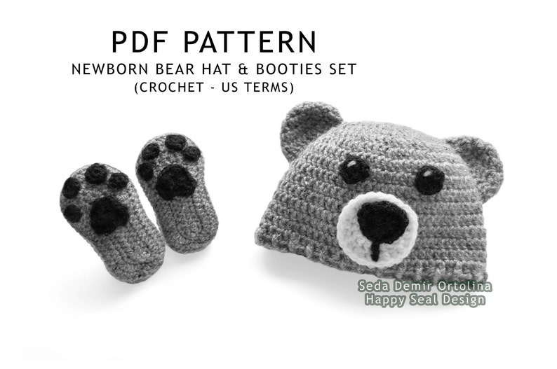 812eaae69c2 PATTERN ONLY Crochet Newborn Bear Hat and Booties Set Baby