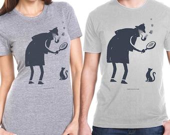 Cat & Detective t-shirt - a dapper detective regards a curious cat!