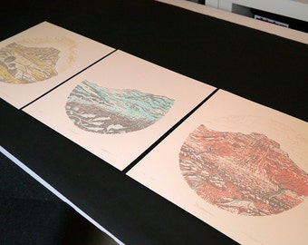 Yorkshire Three Peaks - Pen Y Ghent, Whernside, Ingleborough - set of 3 silkscreen prints