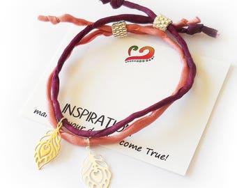 Sterling silver Feather Bracelet, Charm Feather and silk cord Bracelet, Inspiration Bracelet, Dainty Friendship Bracelet, Adjustable size