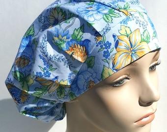 Bouffant Surgical Scrub Hat, Chemo Hat, Little Blue Flower Breeze Print