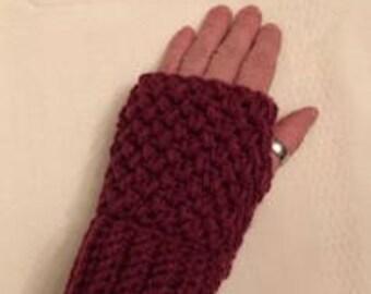 Fingerless gloves, texting gloves, gloves without fingers, crochet fingerless gloves, crochet texting gloves, burgundy gloves