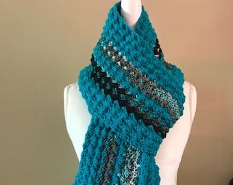 Crochet Scarf, Crocheted Scarf, Long Scarf, Scarf, turquoise blue colored scarf, blue colored scarf, winter scarf, long scarf