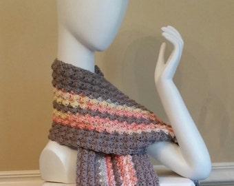 Crochet Scarf, Crocheted Scarf, Long Scarf, Scarf, gray colored scarf, gray scarf, winter scarf, long scarf