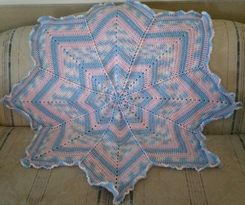 Crochet Baby Blanket Star Blanket 8 Point Star Blanket Baby image 0