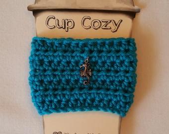 Sea Horse Coffee Cozy, Coffee Cup Cozy, Crochet Coffee Cozy, Coffee Cup Holder, Coffee Cup Sleeve, Coffee Cozy, Cup Cozy