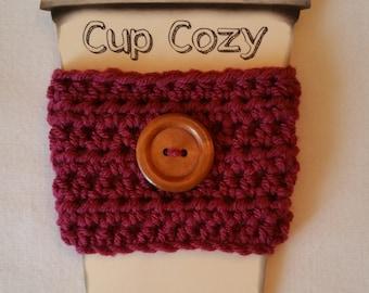 Button Coffee Cozy, Coffee Cup Cozy, Crochet Coffee Cozy, Coffee Cup Holder, Coffee Cup Sleeve, Coffee Cozy, Cup Cozy