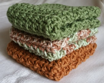 Crochet Cotton Wash Cloth, Dishcloth, Dish Cloth, Fall colors, Autumn, Kitchen Accessories, Wash Rags, Cleaning Supplies