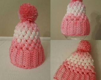 Pink Newborn Hat, Crochet hat, winter baby hat, baby girl hat