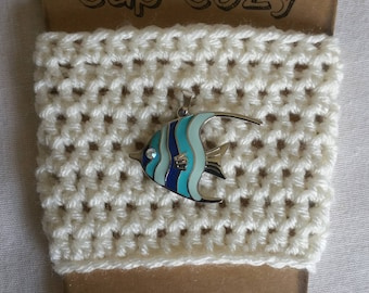 Coffee Cup Cozy, Cup Cozy, Crochet Coffee Cup Cozy, Beach Themed Cup Cup Cozy, Summer Cup Cozy