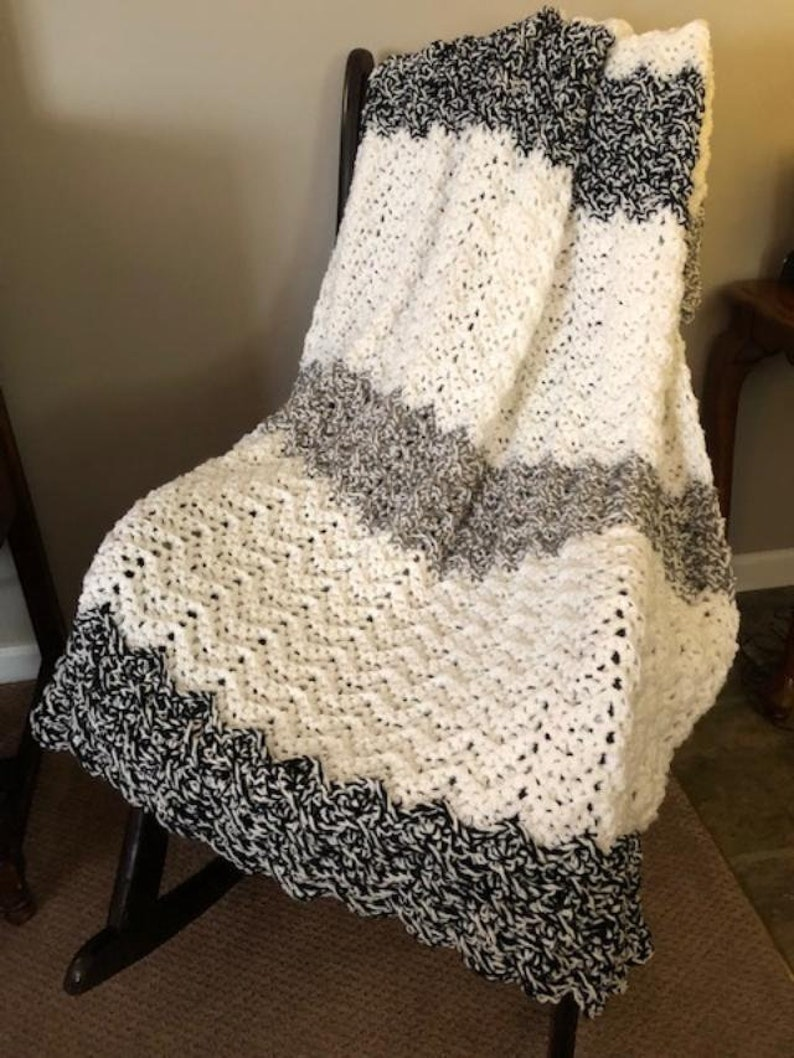 Crochet throw crochet blanket handmade blanket black and image 0