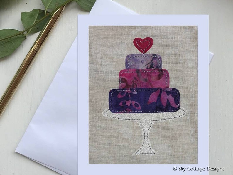 Wedding cake with heart card pdf pattern diy applique pattern etsy