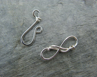 Sterling silver artisan clasp ~ Wire wrapped ~ Handmade jewellery components ~ Hook and eye clasp ~ Jewellery making supplies ~ Handmade