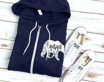 Mama Bear Hoodie Mama Bear Sweatshirt - Unisex Fleece Zipper Hoodie