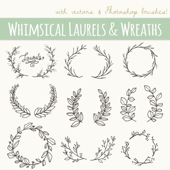 Whimsical Laurels & Wreaths Clip Art // Photoshop Brushes ...
