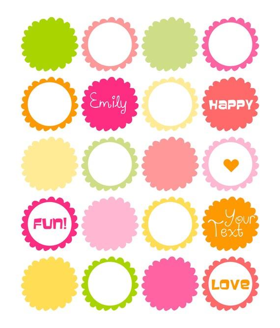 20 Digital Scrapbooking Frames Neon Fluorescent Pink Yellow Etsy