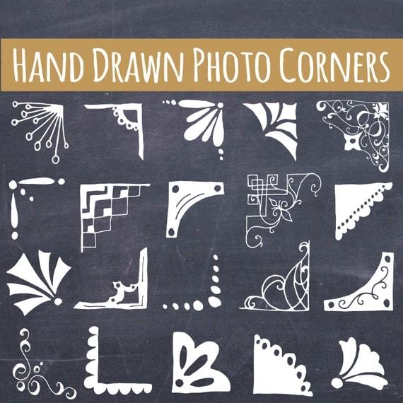 CLIP ART: Cute Picture Corners // Hand drawn Bespoke //