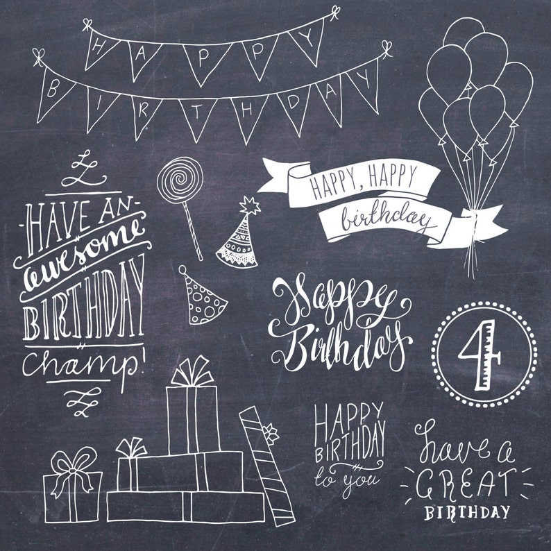 Happy Birthday Clip Art Set // Hand Lettering Word Art // Photoshop Brushes  PSD Vector // DIY Card // Girl Boy Party // Commercial Use