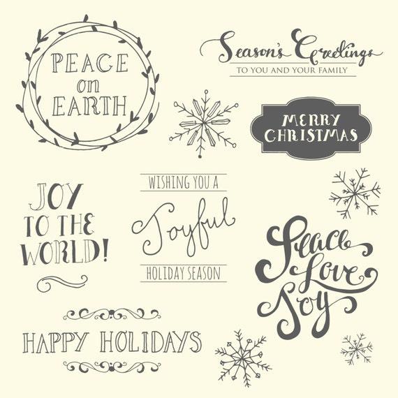 Peace Christmas Quotes.Clip Art Christmas Quotes Set Of 7 Cute Christmas Clipart Holiday Quotes Digital Clip Art Peace Love Joy Photo Overlays Vector Png