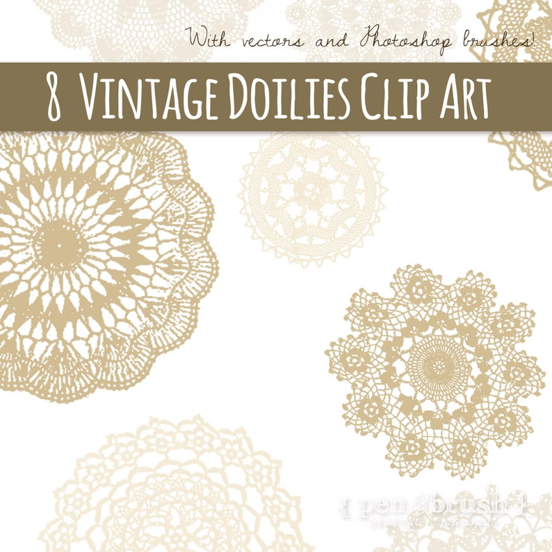 Vintage Sepia Doilies Set  Beautiful Lace Doilies Digital Download  PS Brush Stamp  Vector EPS Cream Tan Beige  Commercial Use
