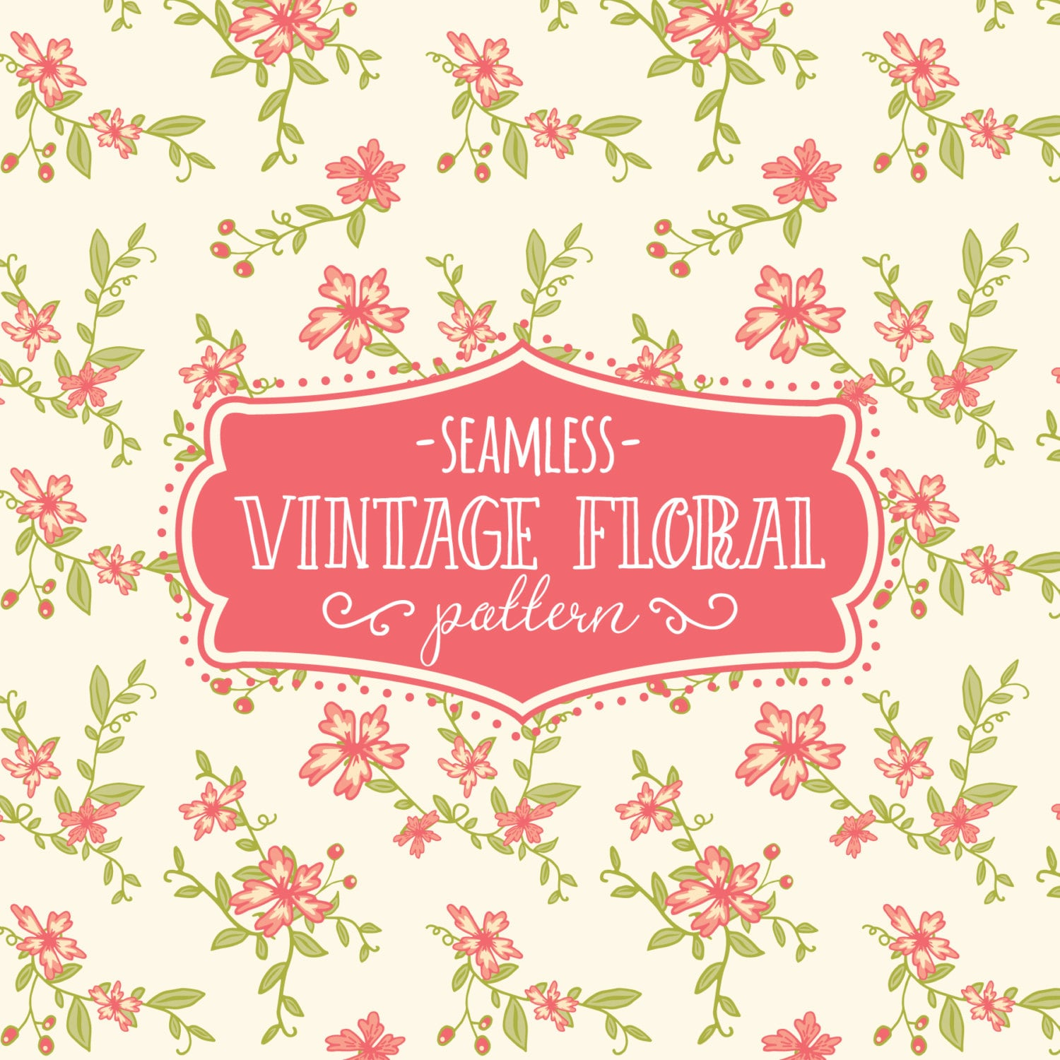 Seamless Pattern Vintage Floral Paper Pack Digital Pattern Etsy