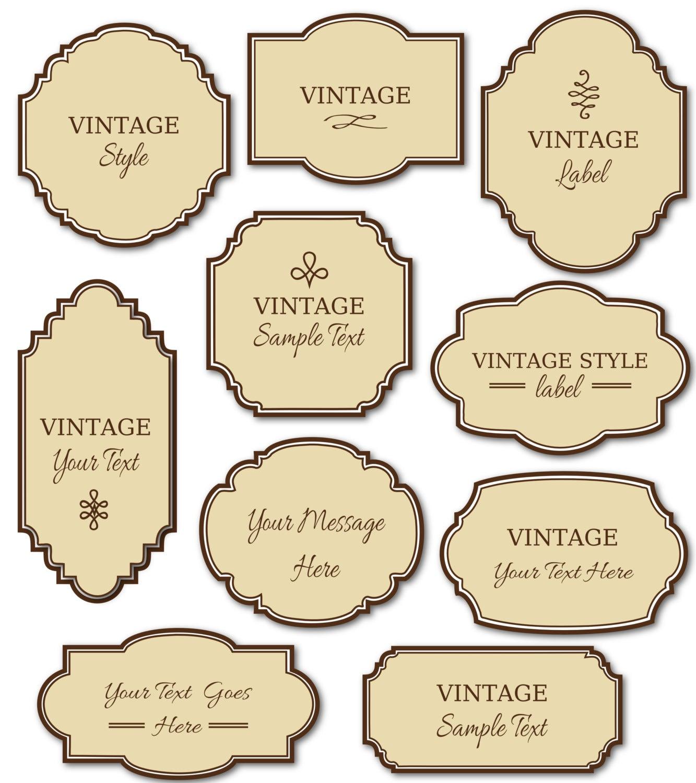 Vintage Labels Clip Art // 10 Digital Frames PNG Files Vector | Etsy