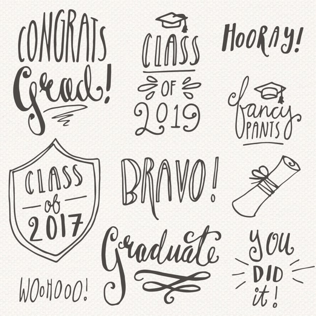 Graduation clip art greeting message editable vector eps etsy image 0 m4hsunfo