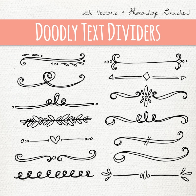 Doodly Text Divider Clip Art // Vector PS Brushes PNG files // Hand Drawn  Graphics // Calligraphy Typography Lettering // Commercial Use
