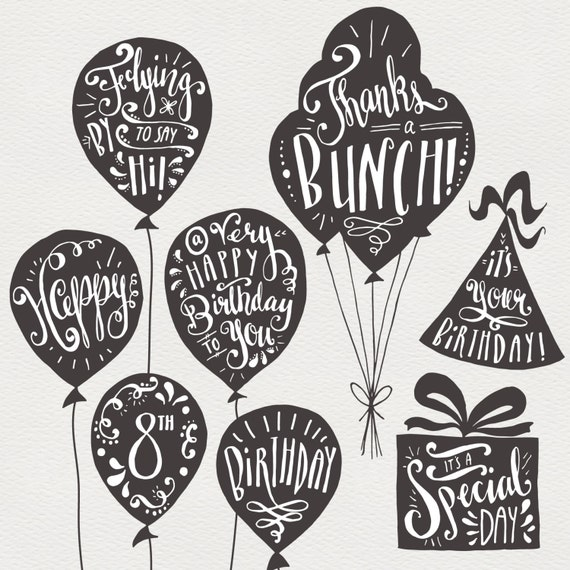 Birthday greeting clip art hand lettering overlays etsy image 0 m4hsunfo