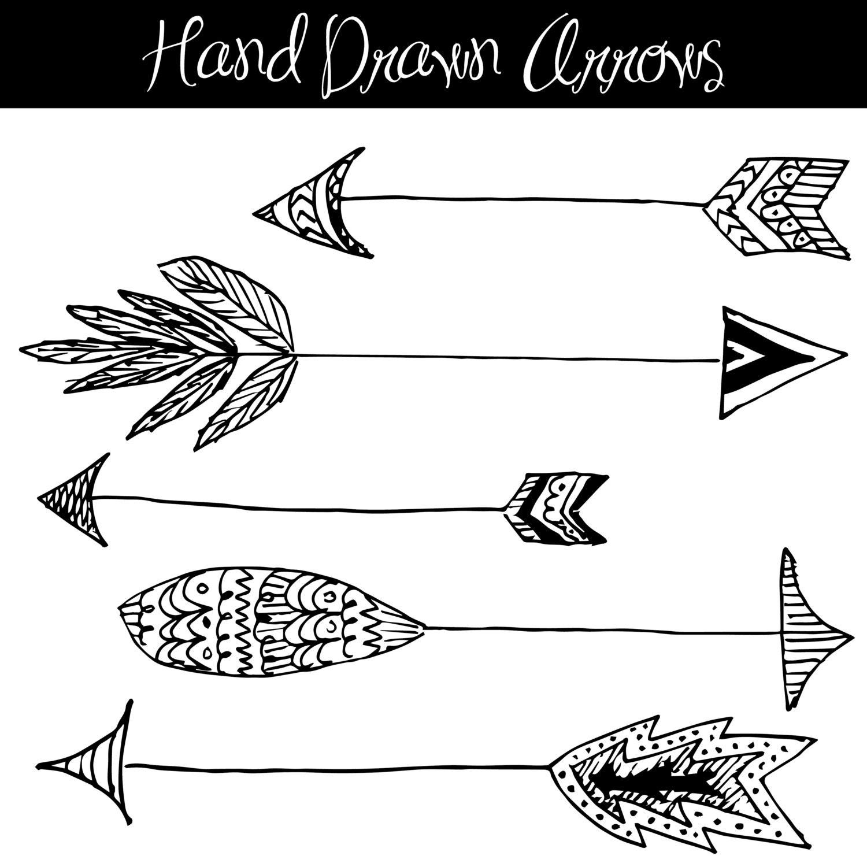 CLIP ART: Hand Drawn Arrows // Native American Style //