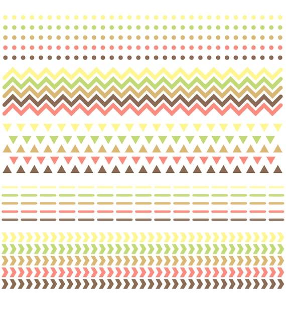 Clip Art Digital Scrapbook Borders Chevron Triangles Etsy